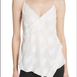 Theory Silk Blend Crossover Camisole Tank in White